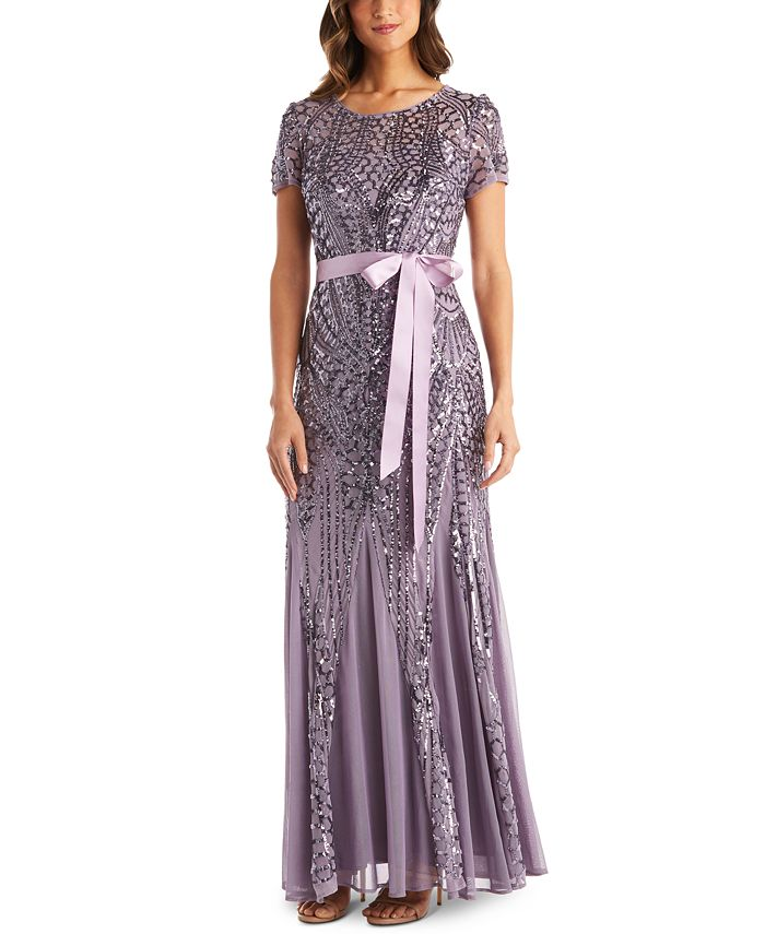 R & M Richards - Sequin-Embellished Pleated-Godet Gown