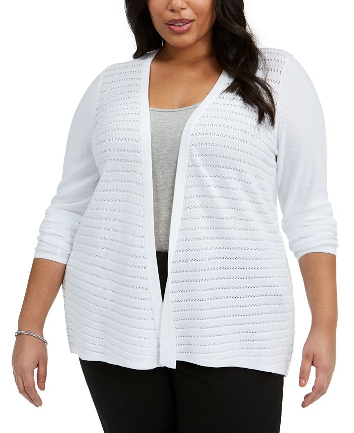 Belldini - Plus Size Stitched Open-Front Cardigan