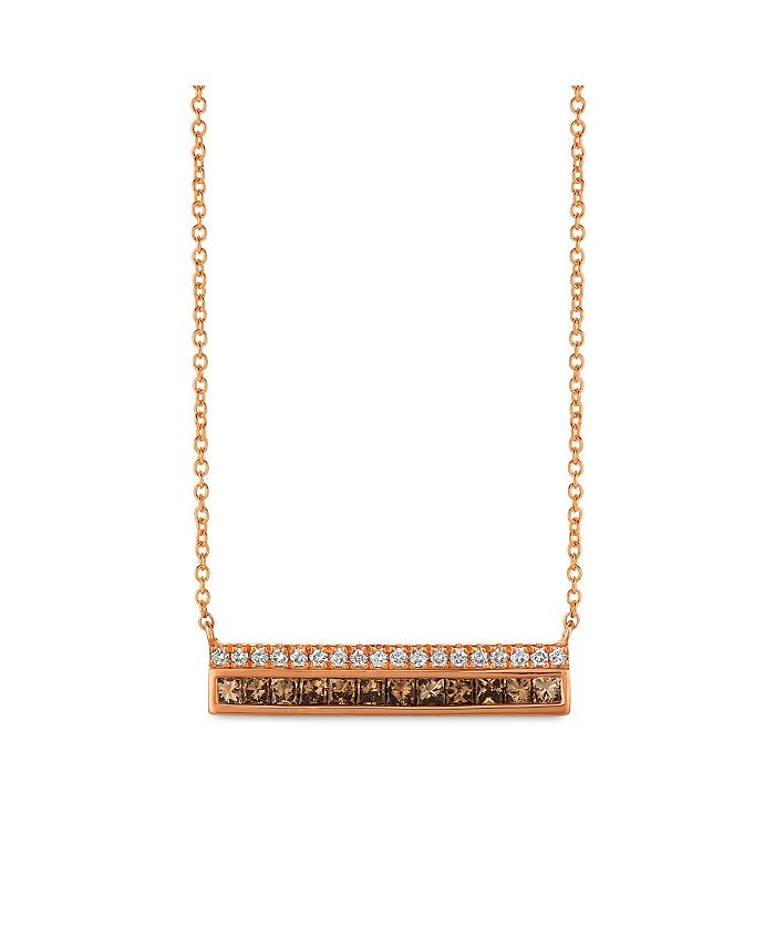 Le Vian - Chocolate Diamonds® (1/2 ct. t.w.) and Vanilla Diamonds® (1/8 ct. t.w.)  Necklace in 14k Rose Gold