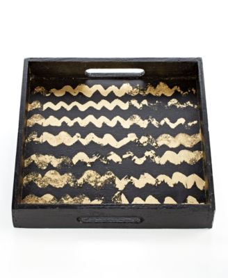 Heart of Haiti Tray, Gold Striped Wood
