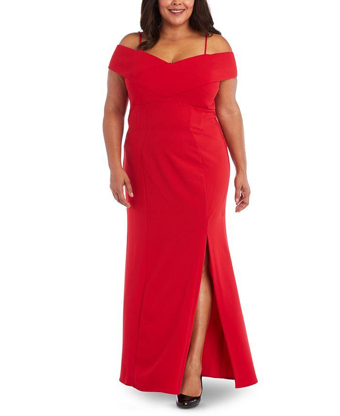 Nightway - Plus Size Portrait-Collar Scuba Gown