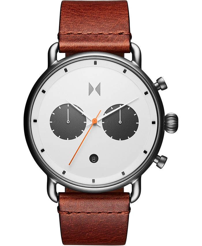 MVMT - Men's Chronograph Rugged Pack Sienna Tan Leather Strap Watch 47mm