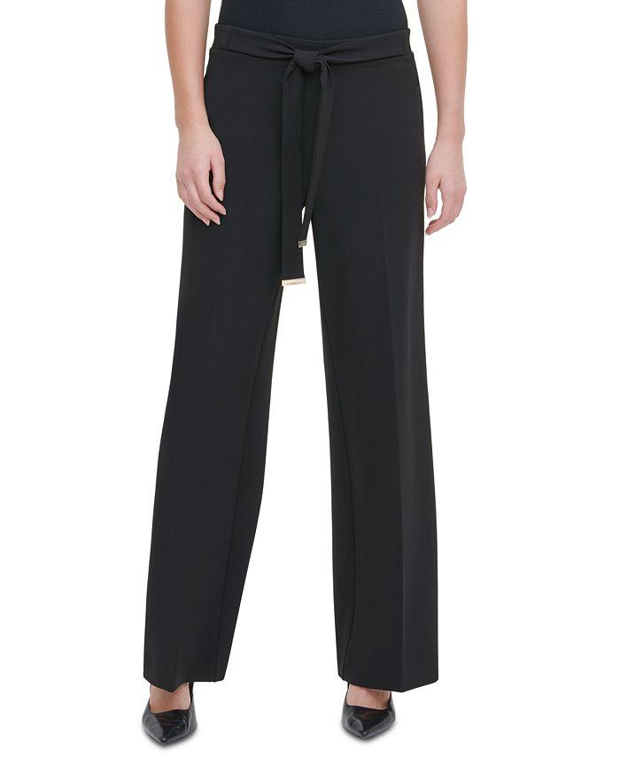 Calvin Klein - Tie-Front Wide-Leg Pants