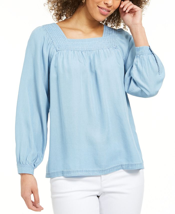Style Co Square Neck Top Created For Macy S Reviews Tops Women Macy S
