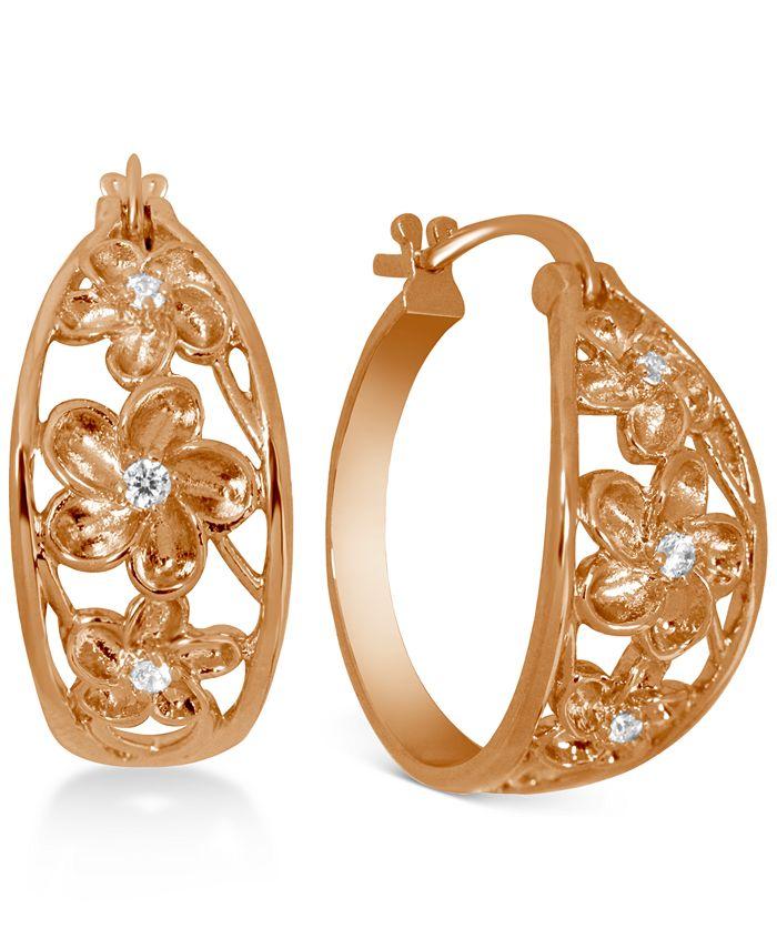 Kona Bay Small Cubic Zirconia Openwork Flower Hoop Earrings In Rose Gold Plate 1 Reviews Earrings Jewelry Watches Macy S