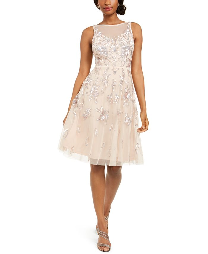 Adrianna Papell - Embellished Illusion Fit & Flare Dress