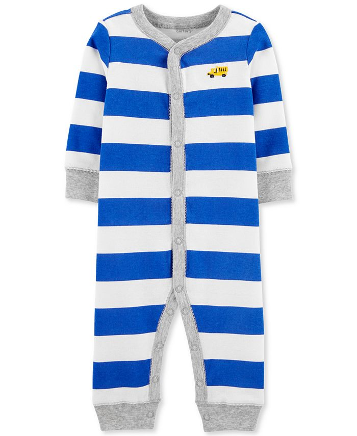 Carter's - Baby Boys 1-Pc. Striped Truck Cotton Sleep & Play