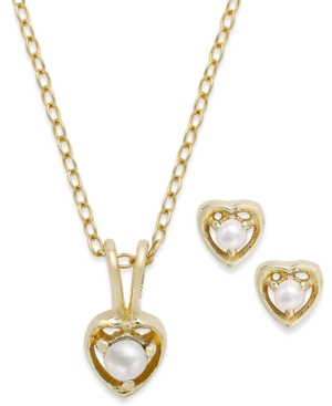 Children's 18k Gold over Sterling Silver Set, June Birthstone Pearl Pendant Necklace and Earrings Set (2mm and 3mm)