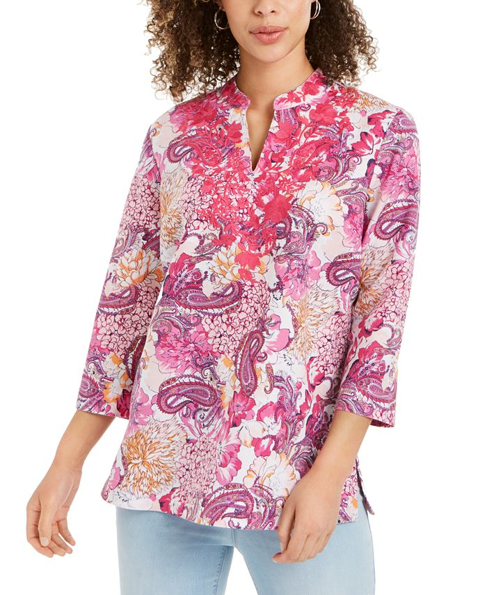 Charter Club - Embroidered-Neck Printed Tunic, Created For Macy's