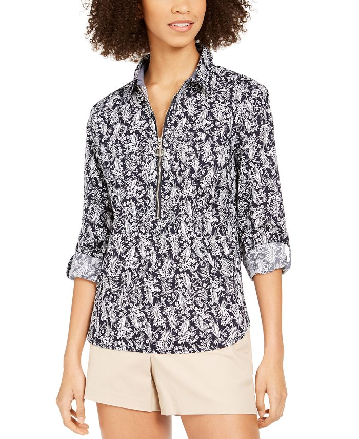 Tommy Hilfiger - Cotton Printed Zippered Top