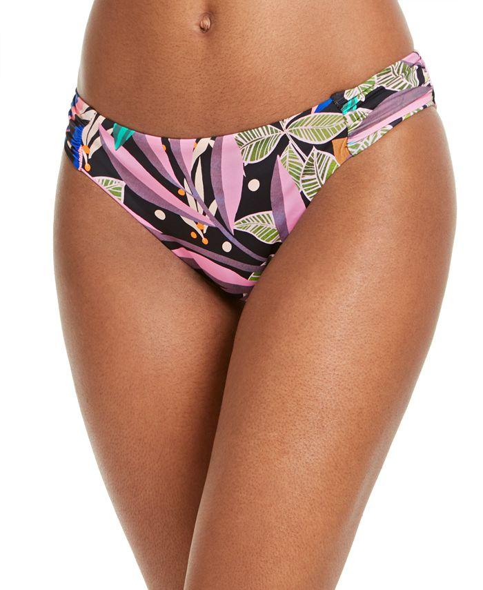 Bar III - Hidden Jungle Printed Side-Shirred Hipster Bikini Bottoms