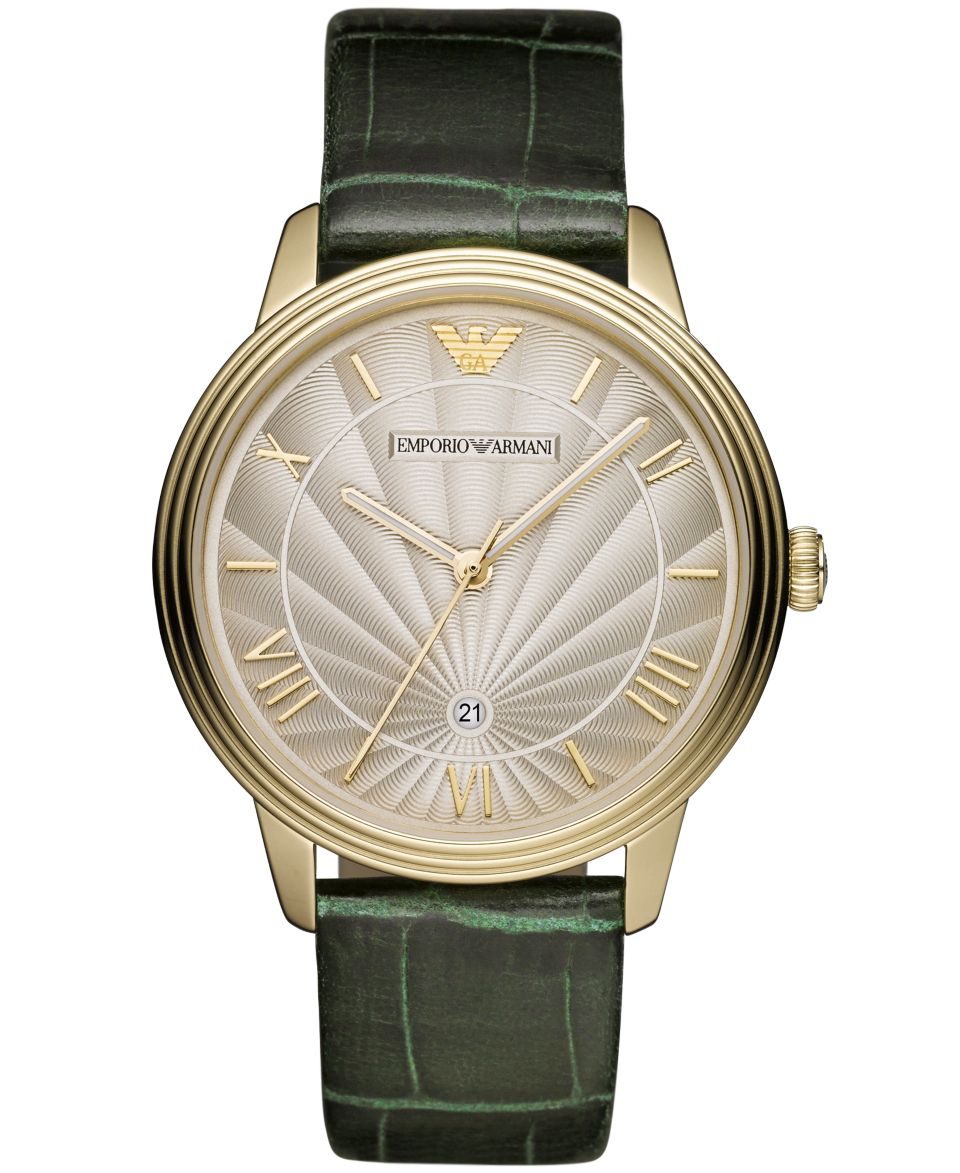 Emporio Armani Watch, Mens Nude Leather Strap 43mm AR2464   Watches   Jewelry & Watches