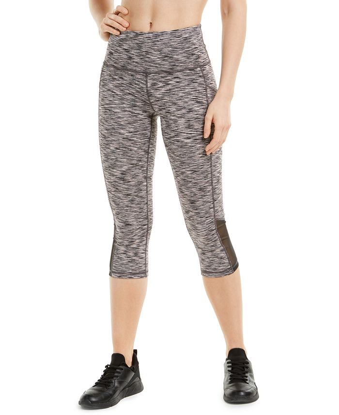 Ideology - Space-Dyed Mesh-Inset Cropped Leggings