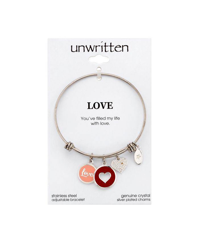 """Unwritten """"Love"""" Heart Enamel and Cubic Zirconia Heart  Adjustable Bangle Bracelet in Stainless Steel with Silver Plated Charms & Reviews - Bracelets - Jewelry & Watches - Macy's"""
