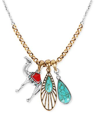 Lucky brand necklace two tone camel and turquoise charm for Macy s lucky brand jewelry