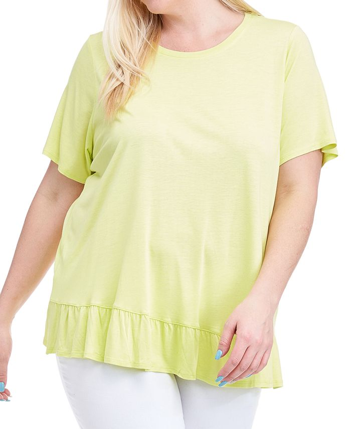 Fever - Plus Size Ruffle-Hem Top