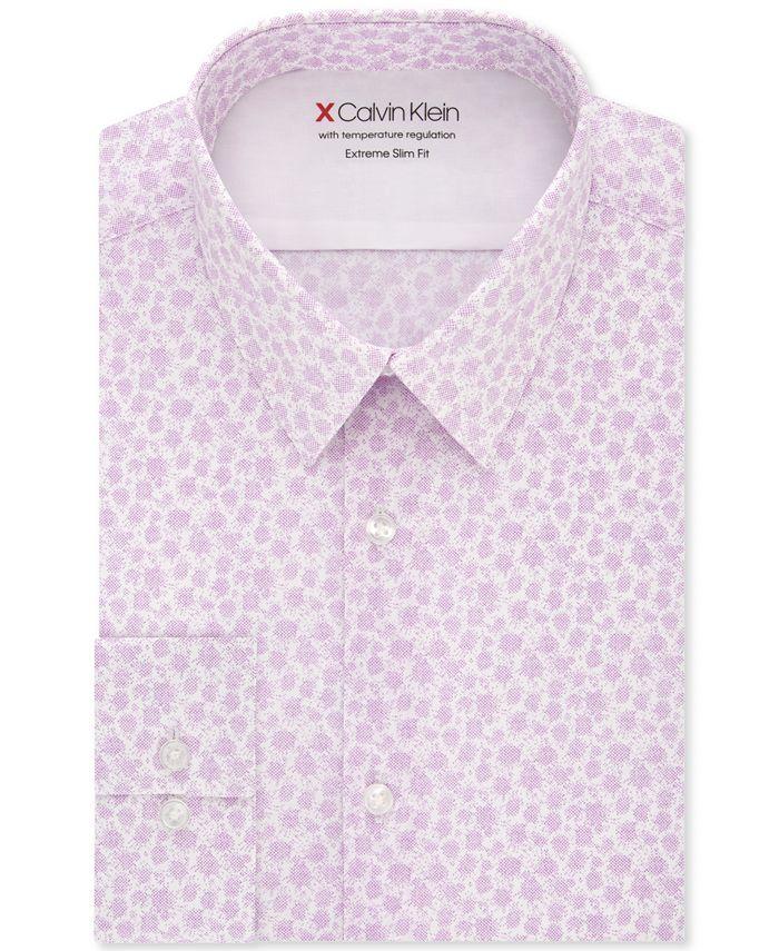 Calvin Klein - Men's Extra-Slim Fit Temperature-Regulating Performance Stretch Abstract-Print Dress Shirt