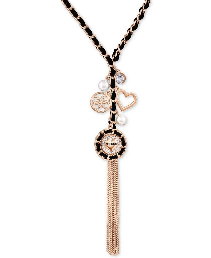 GUESS - Gold-Tone Woven Black, Imitation Pearl & Crystal Lariat Necklace