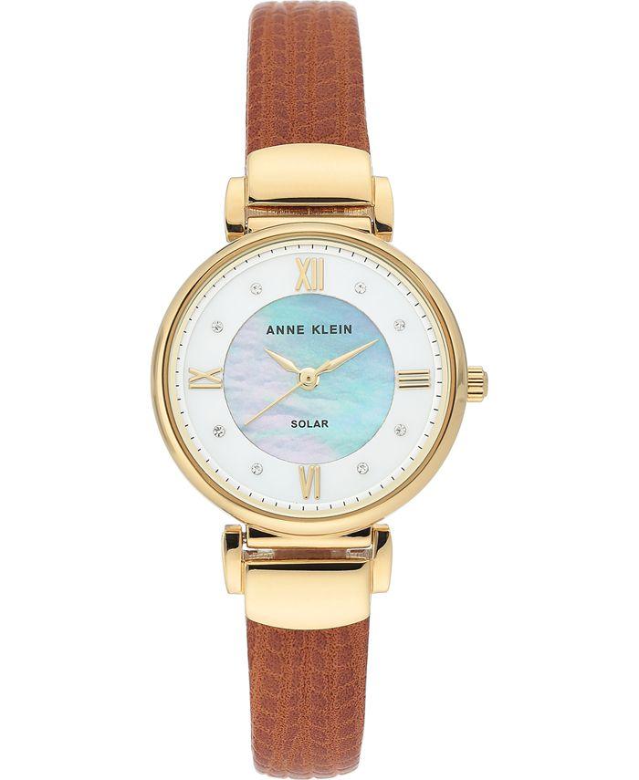 Anne Klein - Women's Solar-Powered Honey Brown Vegan Leather Strap Watch 30mm