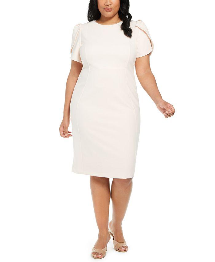 Calvin Klein - Plus Size Puff-Sleeve Sheath Dress