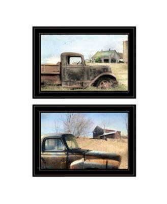 Vintage-Like Farm Trucks 2-Piece Vignette by Lori Deiter, White Frame, 21