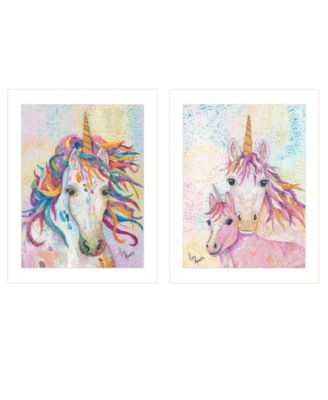 Unicorns 2-Piece Vignette by Lisa Morales, White Frame, 15