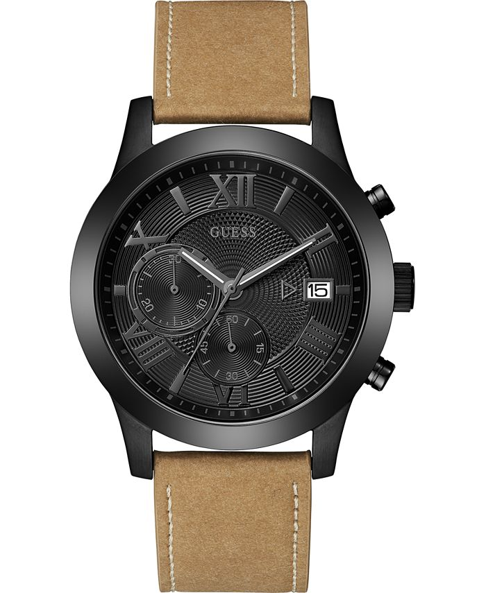 GUESS - Men's Tan Ultrasuade Strap Watch 45mm