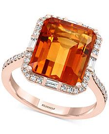 EFFY® Madera Citrine (7-1/3 ct. t.w.) & Diamond (1/4 ct. t.w.) Ring in 14k Rose Gold