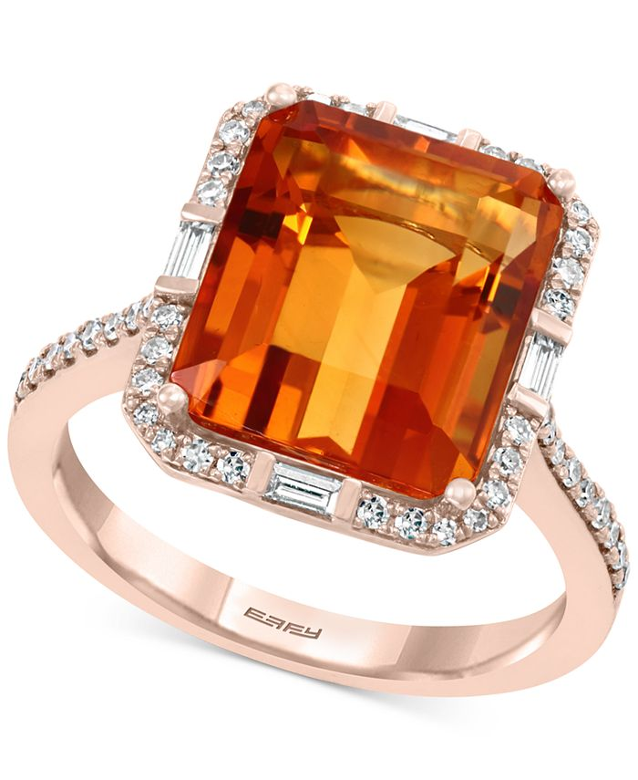 EFFY Collection - Madera Citrine (7-1/3 ct. t.w.) & Diamond (1/4 ct. t.w.) Ring in 14k Rose Gold