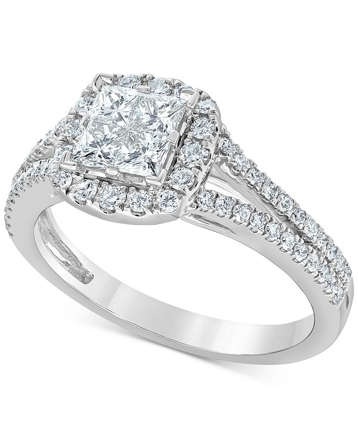 Macy's - Diamond Princess Cluster Halo Engagement Ring (1 ct. t.w.) in 14k White Gold