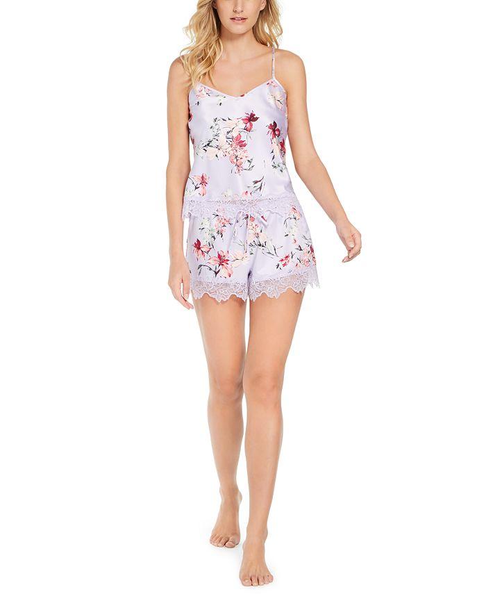 INC International Concepts - Lace Trim Floral-Print Shorts Sleep Set