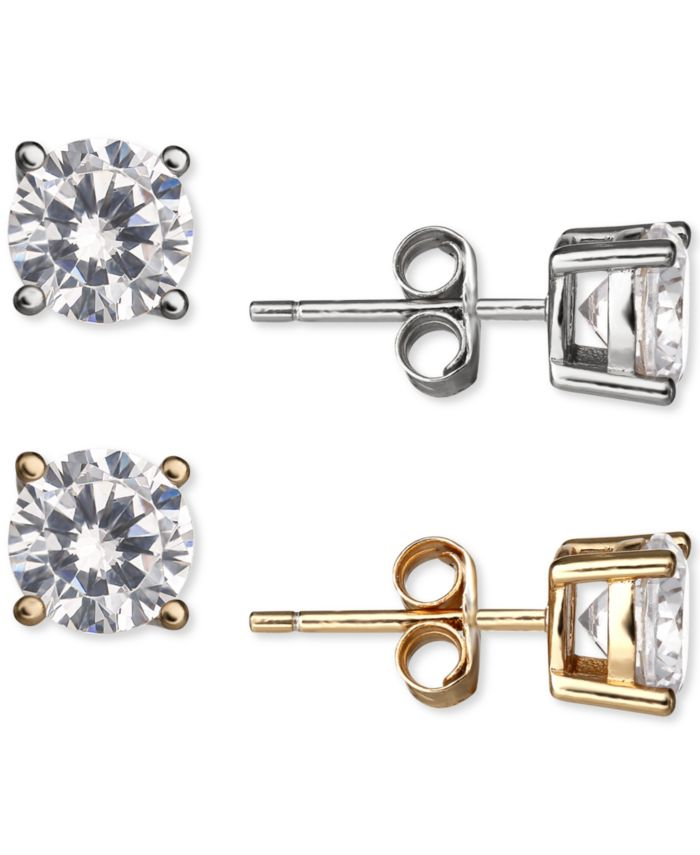 Giani Bernini 2-Pc. Set Cubic Zirconia Stud Earrings in Sterling Silver & 18k Gold-Plate & Reviews - Jewelry & Watches - Macy's