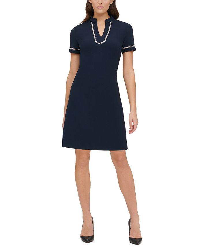 Tommy Hilfiger - Short-Sleeve Lace-Trim Sheath Dress