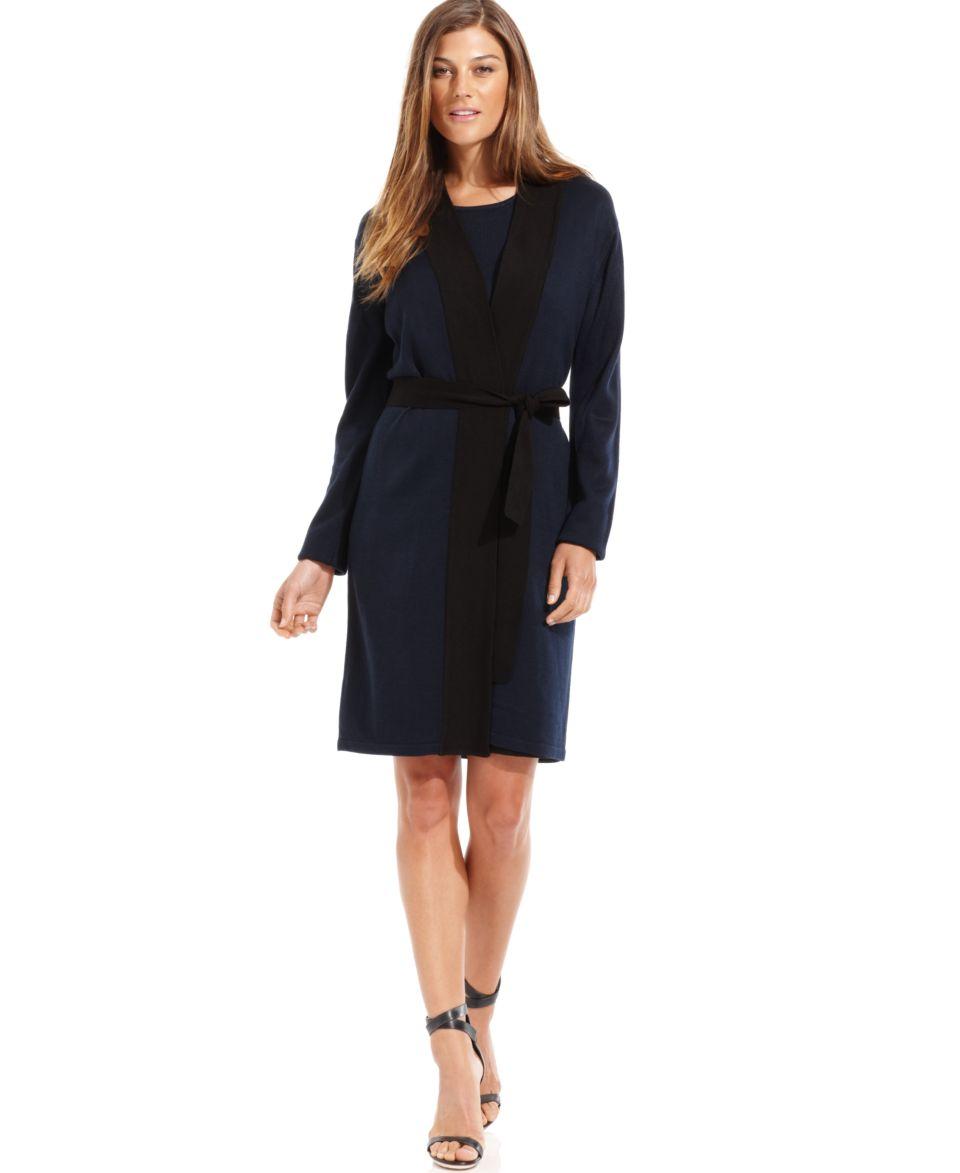 Calvin Klein Cardigan, Long Sleeve Colorblock Duster   Jackets & Blazers   Women