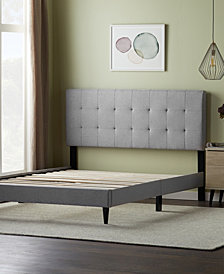 Dream Collection by LUCID Upholstered Platform Bed Frame with Square Tufted Headboard, California King