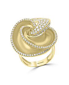 EFFY® Diamond Pavé Flower Statement Ring (1-1/2 ct. t.w.) in 14k Gold