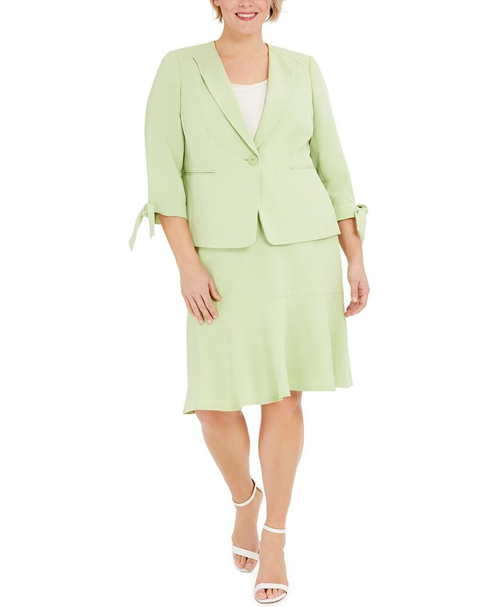 Le Suit - Plus Size One-Button Tie-Sleeve Jacket and Skirt Suit
