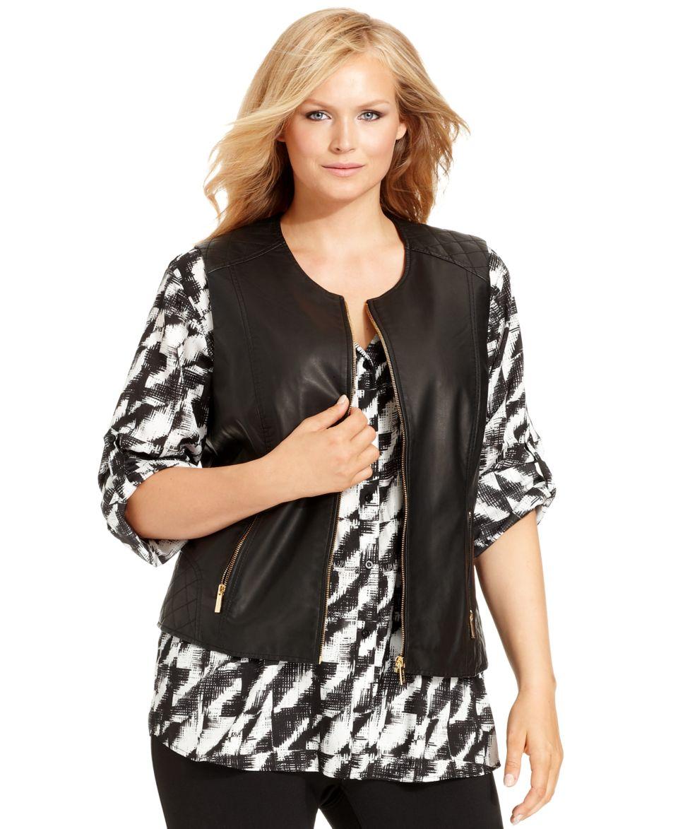 Calvin Klein Plus Size Sleeveless Faux Leather Vest   Jackets & Blazers   Plus Sizes