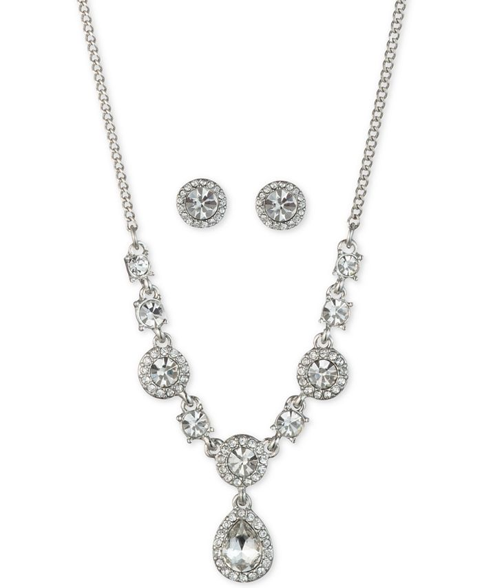Givenchy - Silver-Tone Crystal Button Earrings & Frontal Necklace