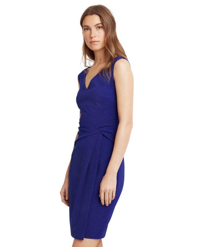 Lauren Ralph Lauren Petite Jersey V-Neck Dress & Reviews - Dresses - Petites - Macy's