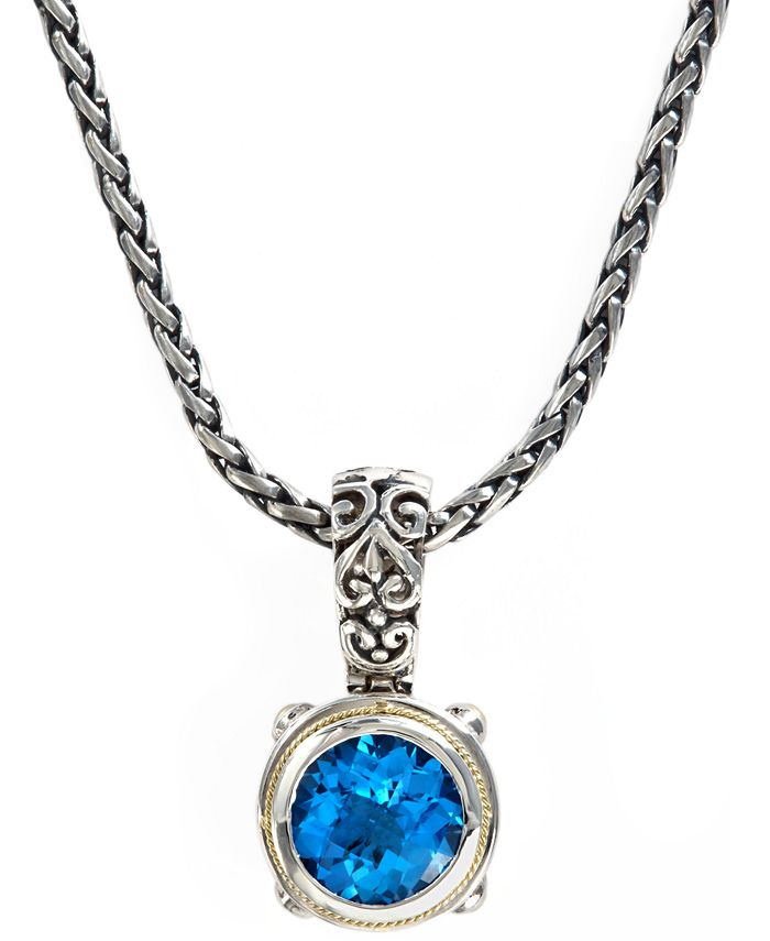 EFFY Collection - Blue Topaz Round Pendant (5-3/4 ct. t.w.)  in 18k Gold and Sterling Silver
