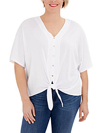 Michael Michael Kors Plus Size Button-Front Tie-Hem Top