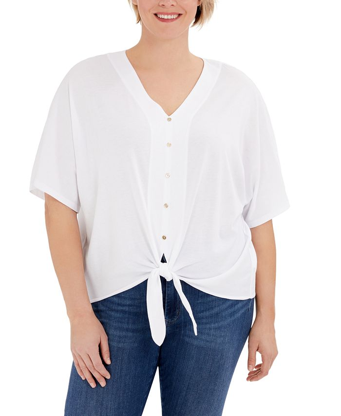 Michael Kors - Plus Size Button-Front Tie-Hem Top