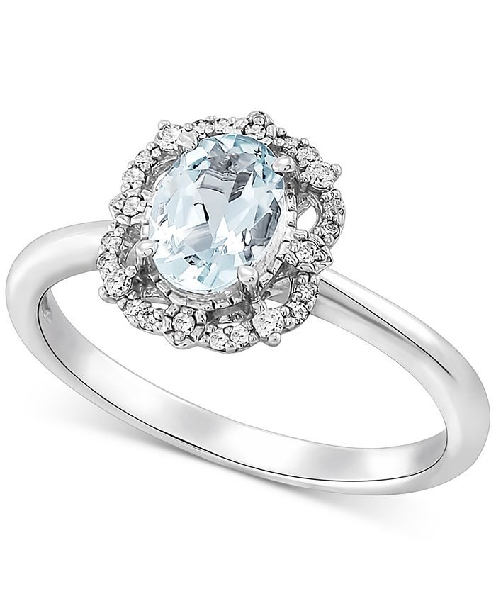 Macy's - Aquamarine (5/8 ct. t.w.) & Diamond (1/10 ct. t.w.) Ring in 14k White Gold