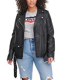 Levi's® TrendyPlusSizeFaux-LeatherOversizedMotoJacket
