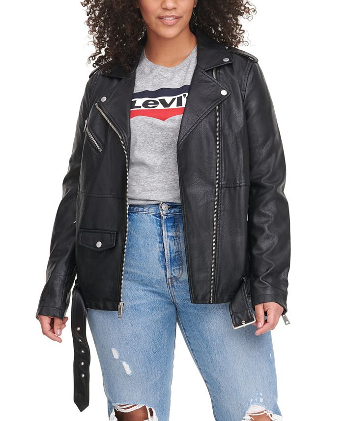 Levi's - Plus Size Faux-Leather Moto Jacket