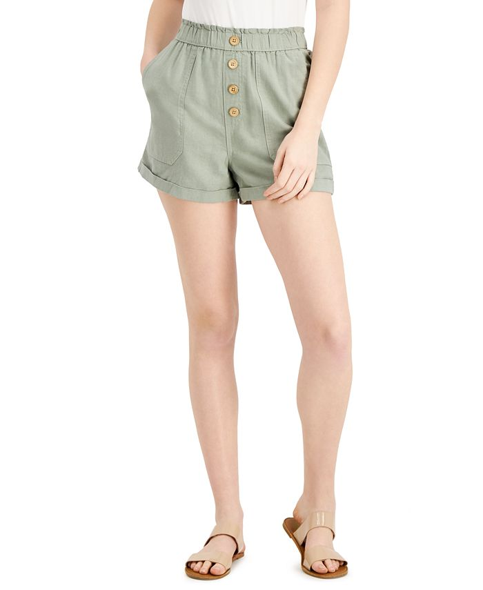 Vanilla Star - Juniors' Cuffed Paperbag Shorts