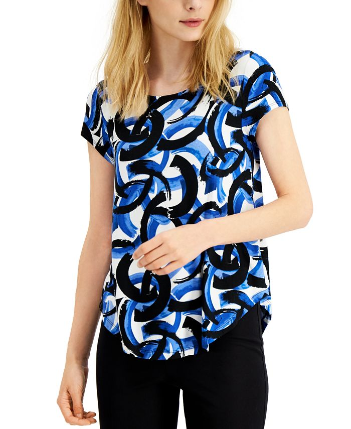 Alfani - Petite Printed Round-Hem T-Shirt, Created for Macy's