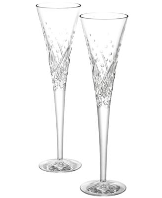 Waterford Artisan 2016 Engraved by Tom Brennan Happy Celebrations Toasting Flutes, Set of 2