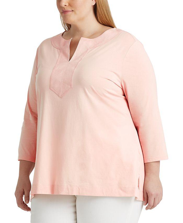Lauren Ralph Lauren - Plus-Size Jersey Elbow-Sleeve Top